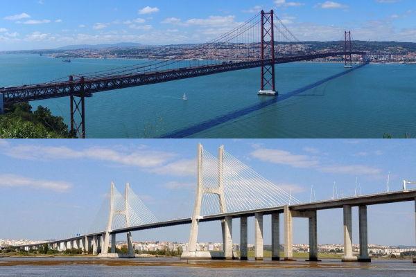 Passeio sob as pontes de Lisboa